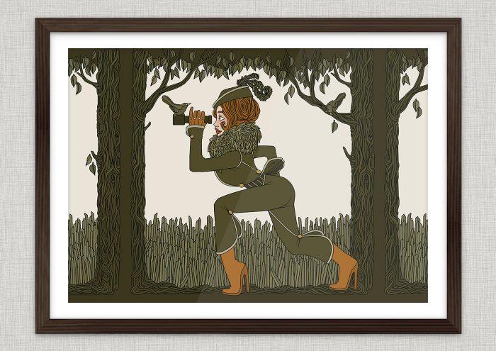 Kunstdruck Beilage im Jitter Magazin mit der Zeichnung einer Jägerin im Wald mit Fernglas auf der Pirschjagd