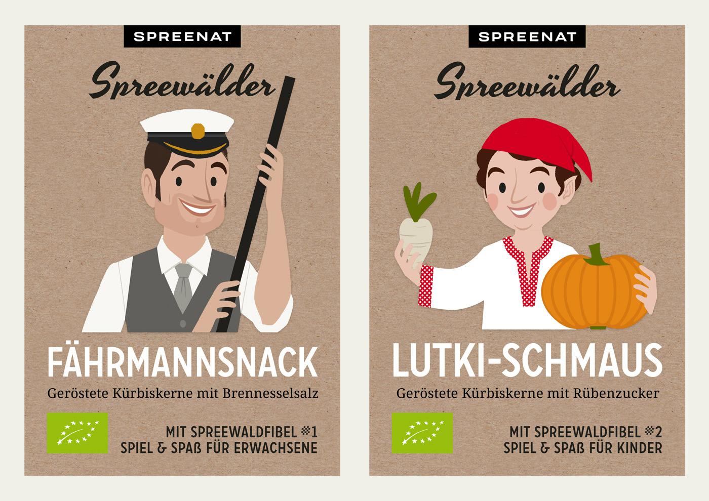 Illustrationen von Lutki und Fährmann für Verpackungen von Bio-Snacks aus Kürbiskernen von Spreenat Naschgarten aus dem Spreewald