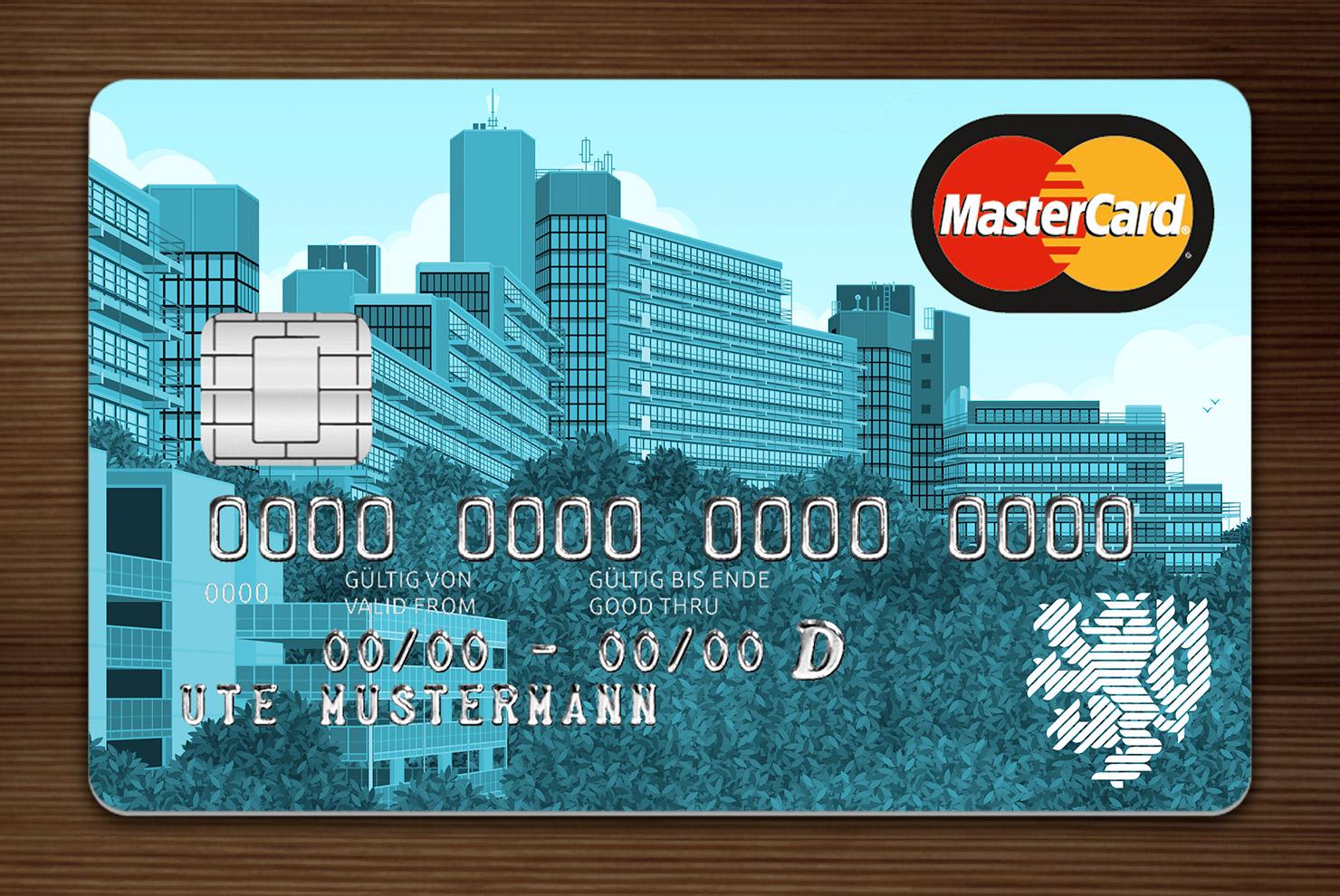 Blau getönte MasterCard mit Ansicht der Gebäude am Grifflenberg für die Mitarbeiter der Uni Wuppertal, BUGH, von der Stadtsparkasse