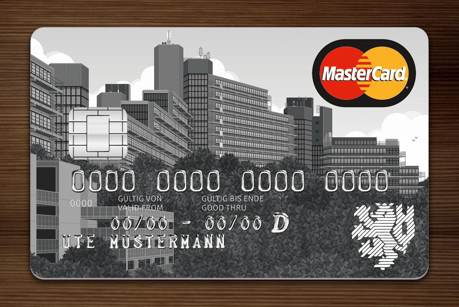 Grau getönte MasterCard mit Ansicht der Gebäude am Grifflenberg für die Mitarbeiter der Uni Wuppertal, BUGH, von der Stadtsparkasse