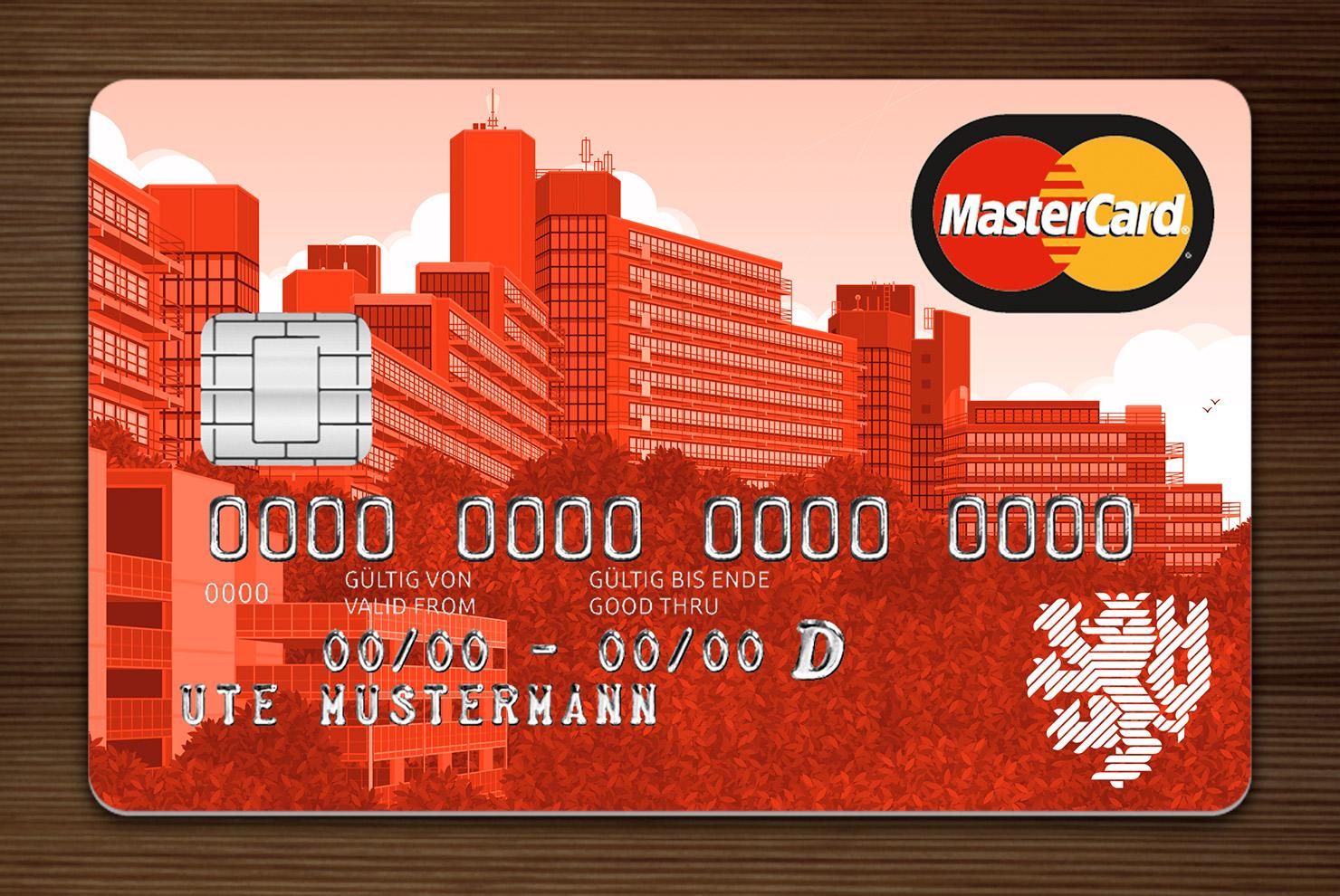 Orange getönte MasterCard mit Ansicht der Gebäude am Grifflenberg für die Mitarbeiter der Uni Wuppertal, BUGH, von der Stadtsparkasse