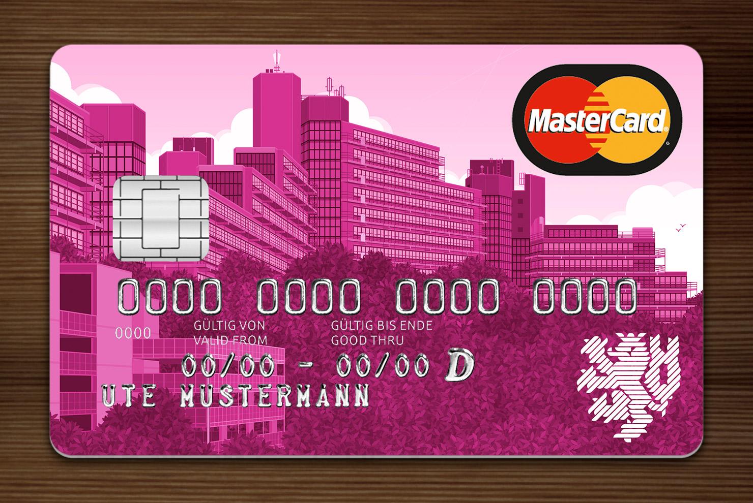 Pink getönte MasterCard mit Ansicht der Gebäude am Grifflenberg für die Mitarbeiter der Uni Wuppertal, BUGH, von der Stadtsparkasse