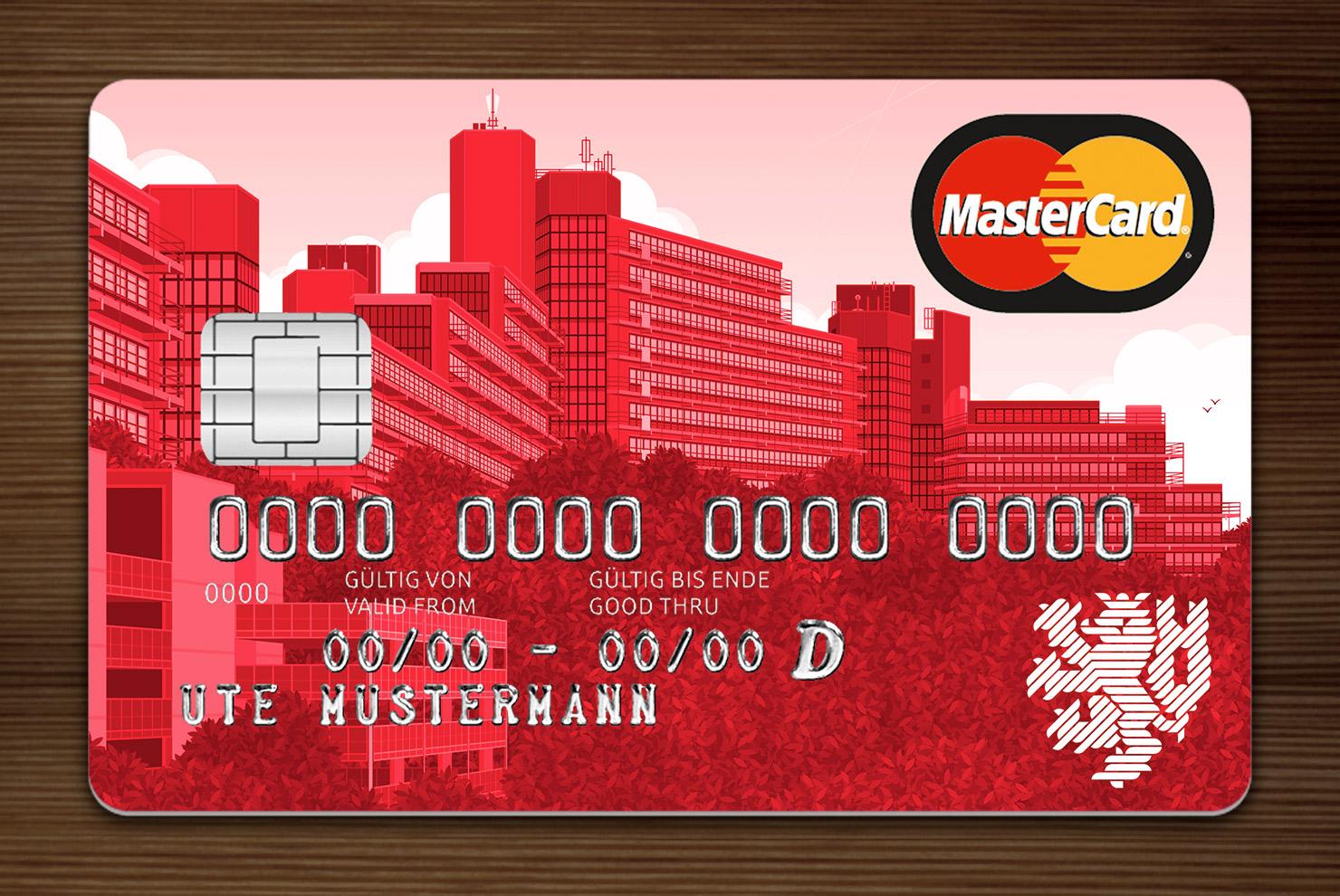 Rot getönte MasterCard mit Ansicht der Gebäude am Grifflenberg für die Mitarbeiter der Uni Wuppertal, BUGH, von der Stadtsparkasse