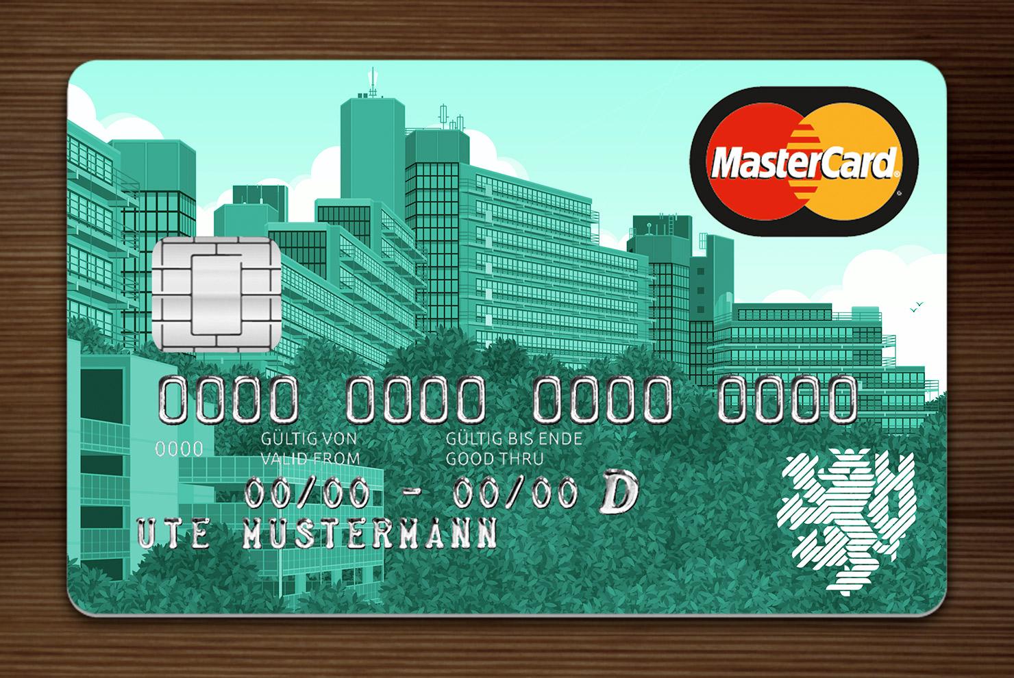 Türkis getönte MasterCard mit Ansicht der Gebäude am Grifflenberg für die Mitarbeiter der Uni Wuppertal, BUGH, von der Stadtsparkasse