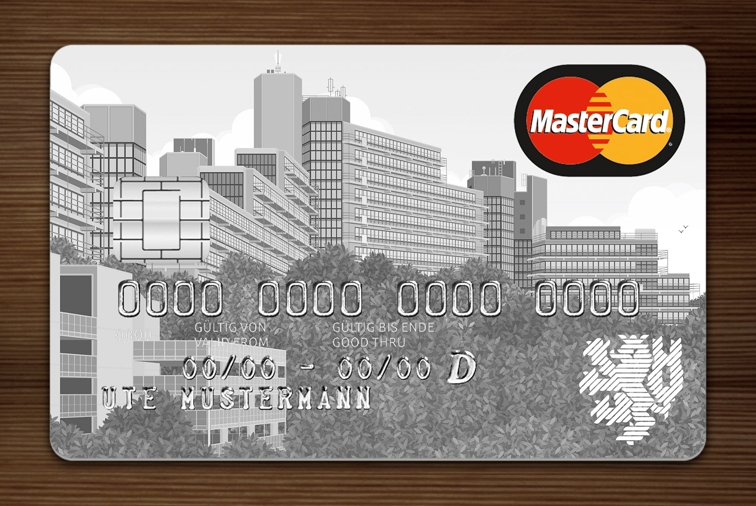 Weiß getönte MasterCard mit Ansicht der Gebäude am Grifflenberg für die Mitarbeiter der Uni Wuppertal, BUGH, von der Stadtsparkasse