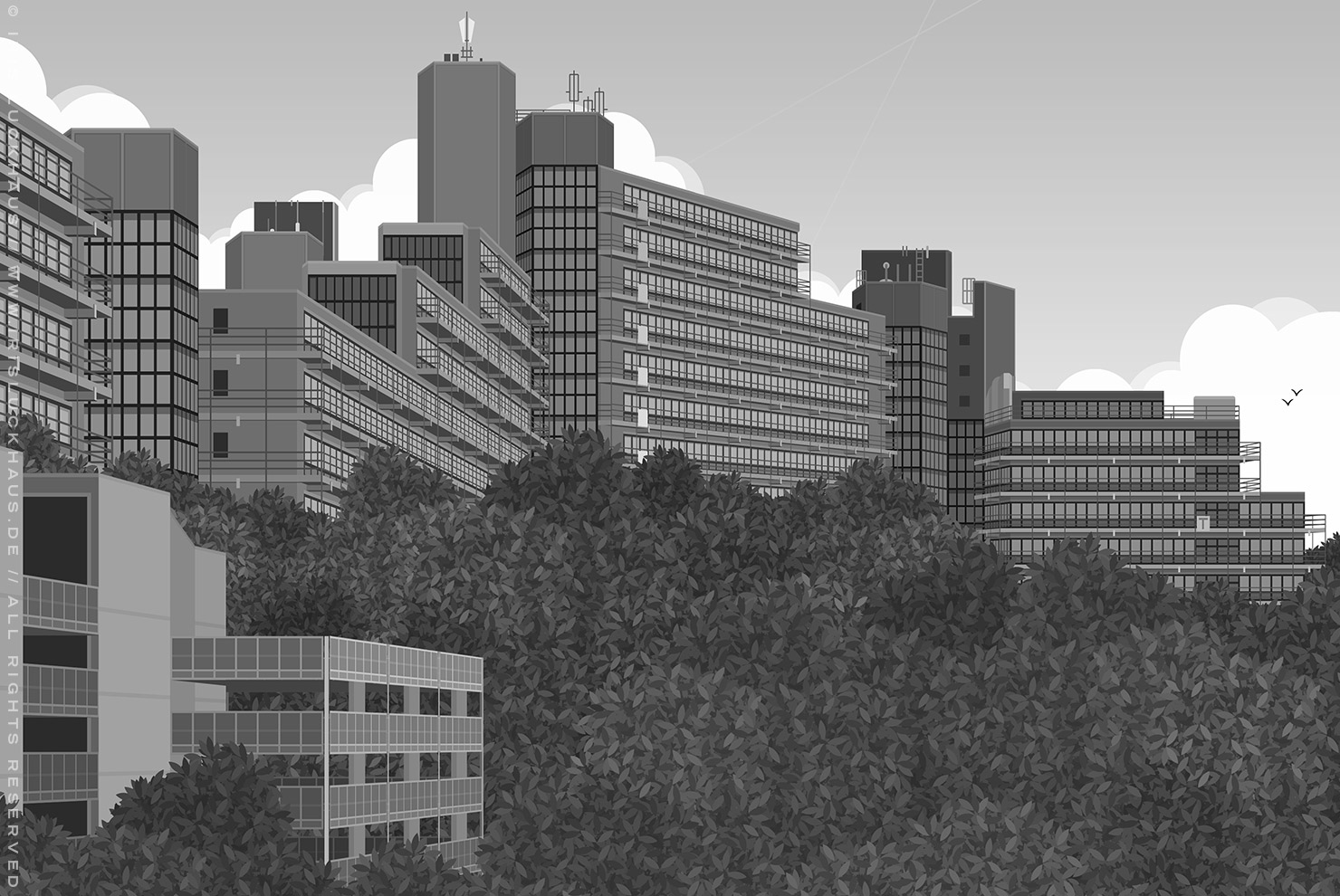 Perspektivische Schwarzweiß Zeichnung der Gebäude der Uni Wuppertal, BUGH, am Grifflenberg, für die MasterCard der Stadtsparkasse für die Mitarbeiter der Uni