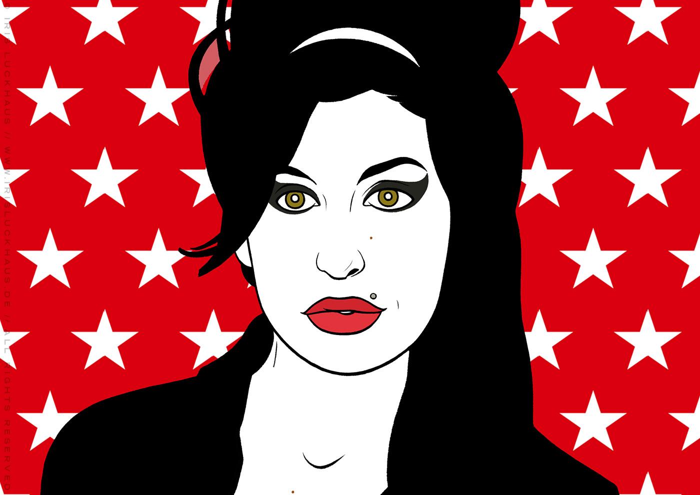 Comic Popart Retro Tusche Zeichnung mit Portraits von Heldinnen der Sixties wie Amy Winehouse