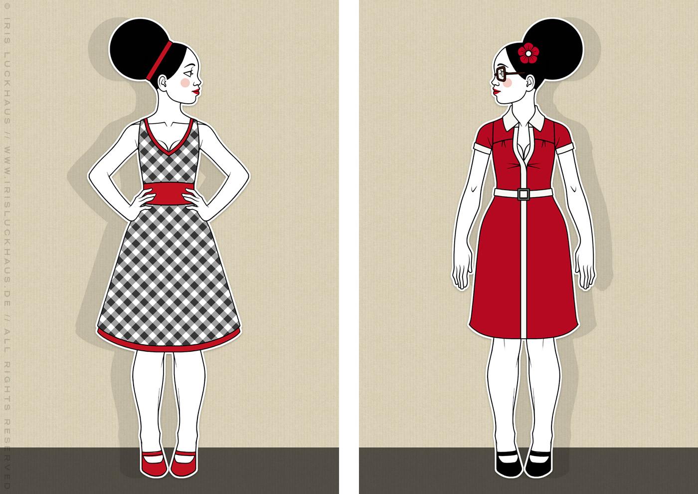 Fashionistas (Brigittes), Retro-Modezeichnungen im Stil der Sixties mit Beehive, kleinen Kleidchen in schwarzweißem Karo und rot und großen Sonnenbrillen