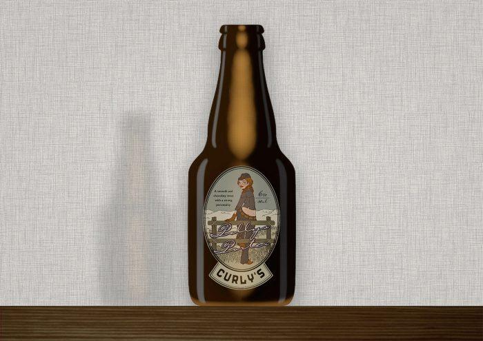 Illustration eines in Jeans und Stetson auf dem Zaun einer Weide im wilden Westen sitzenden Cowgirls als Etikett für eine Bierflasche