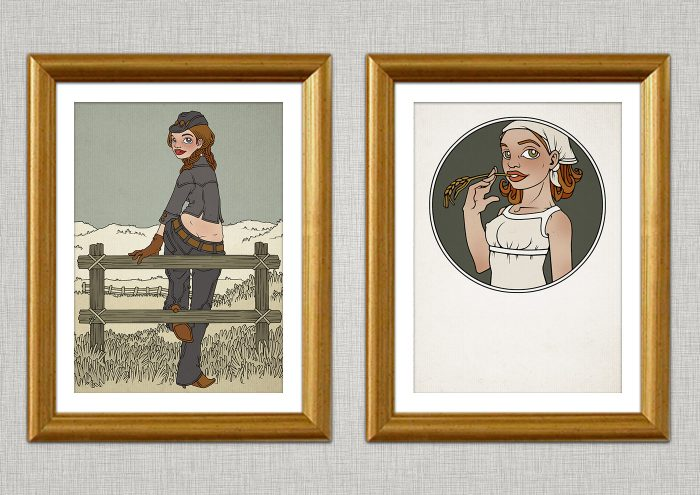Illustration eines in Jeans und Stetson auf dem Zaun einer Weide im wilden Westen sitzenden Cowgirls und seiner an einem Halm kauenden Freundin Cornflake Lucy
