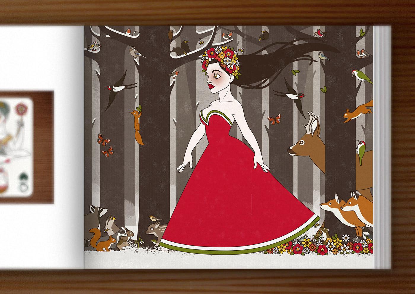 IO-Sedbook mit einer Zeichnung von Flora, Persephone, Proserpina oder Sylvana, Frühlingsgöttin oder Nymphe im Abendkleid mit Blumenkranz, die von Tieren wie Eichhörnchen, Rehen und Singvögeln begleitet durch den Wald im Frühling spaziert