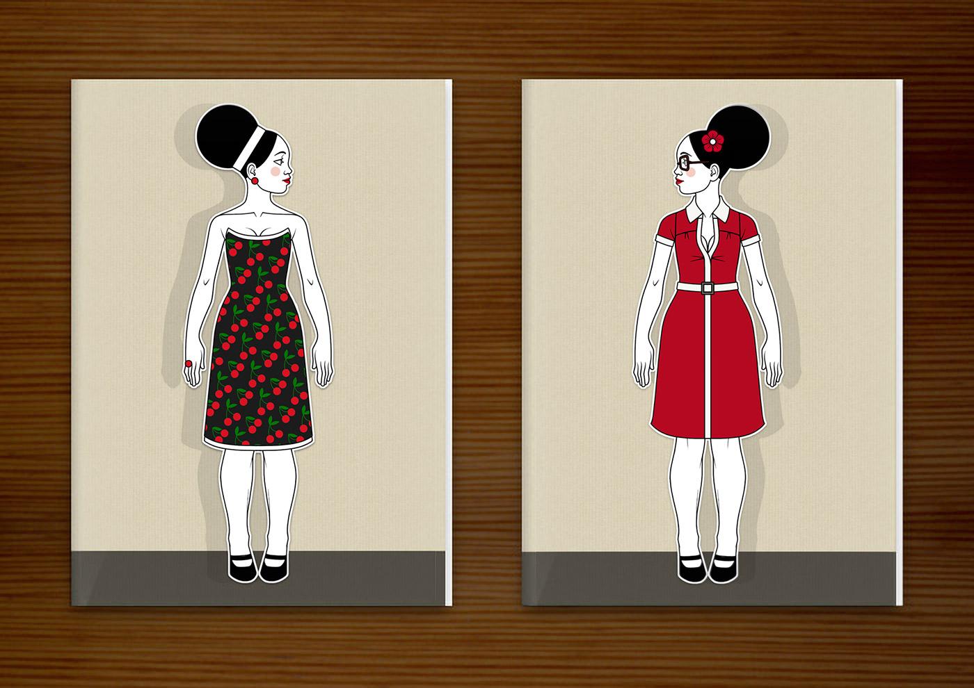 Retro-Modezeichnungen im Stil der Sixties mit Beehive, kleinen Kleidchen in schwarzweißem Karo und rot und großen Sonnenbrillen