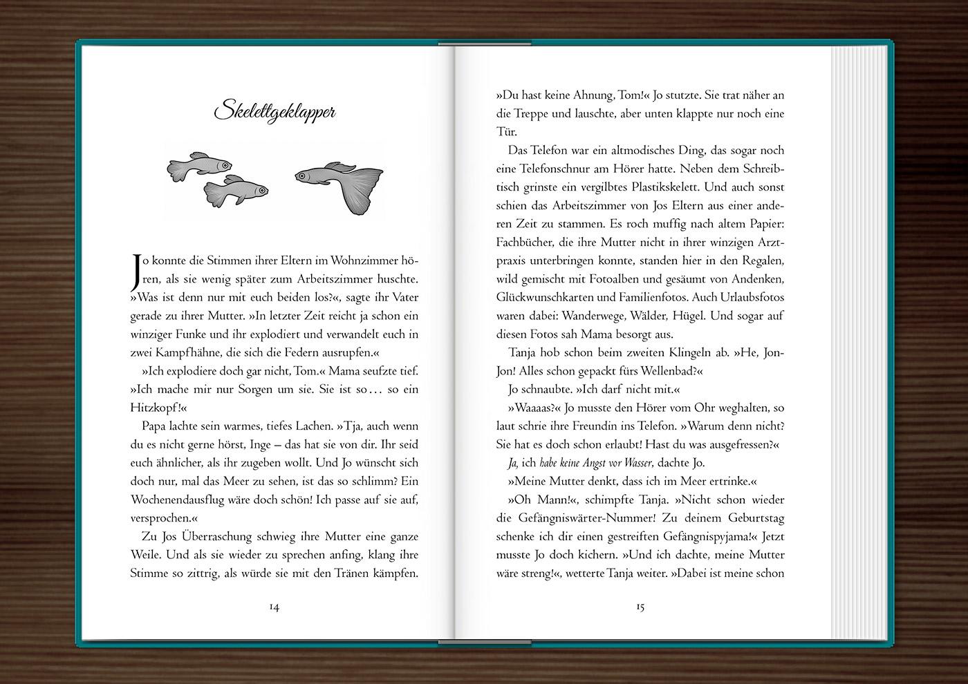 Vignette mit drei mißtrauischen Goldfischen zur Kapitelillustration des Jugendbuchs Lillesang von Nina Blazon