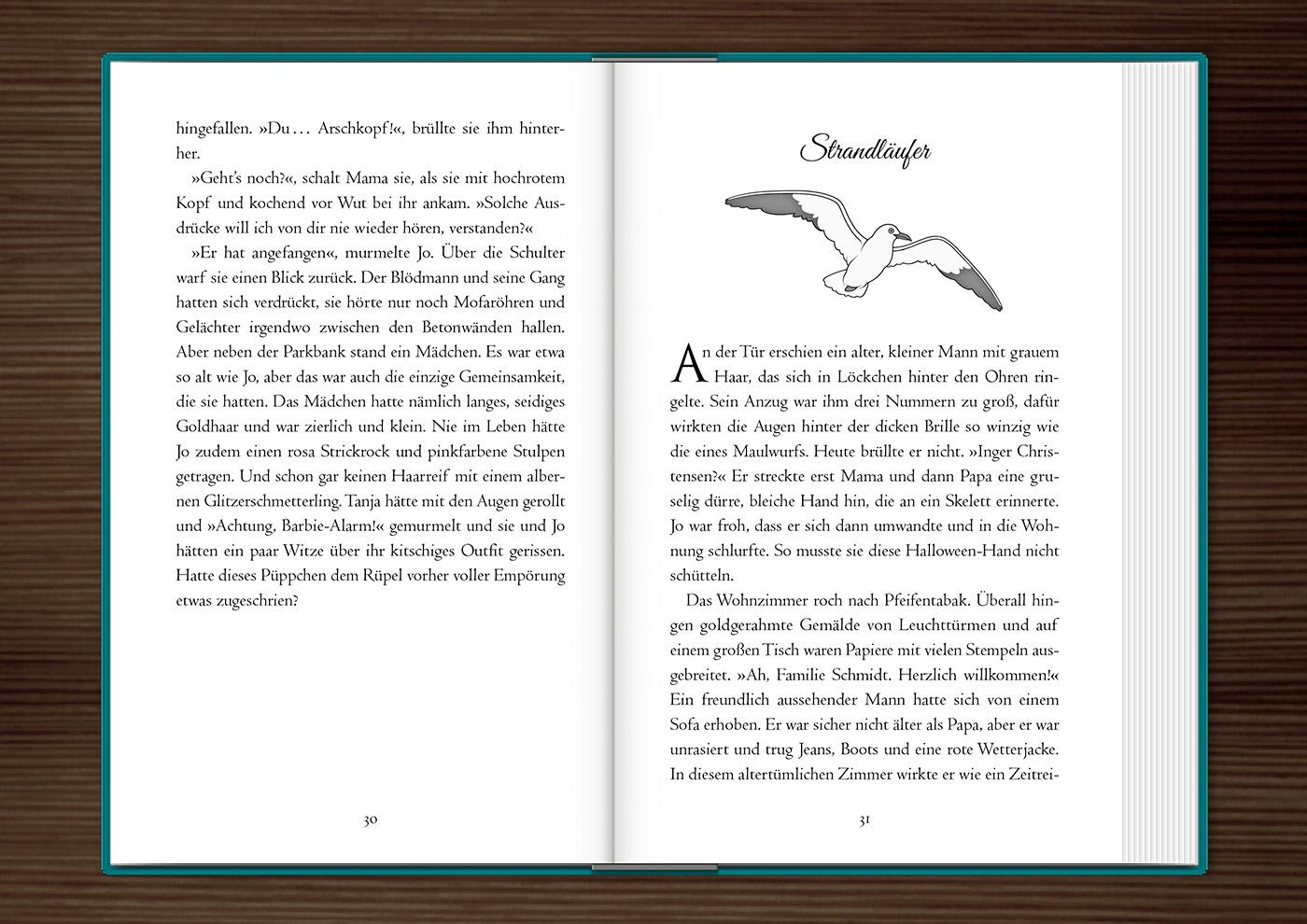 Vignette mit einer Möwe zur Kapitelillustration des Jugendbuchs Lillesang von Nina Blazon