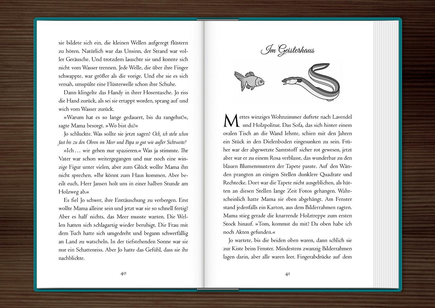 Vignette mit Aal und Goldfisch zur Kapitelillustration des Jugendbuchs Lillesang von Nina Blazon