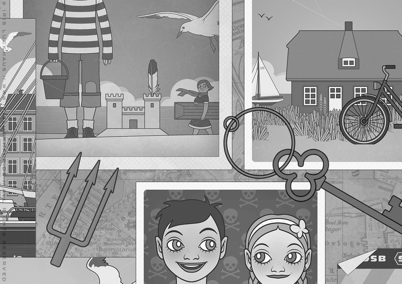 Gezeichnetes Schwarzweiß-Fotos von dänischen Stränden am Meer mit Menschen, Häusern, Segelbooten, Sandburgen und Fahrrädern und Möwen für das Vorsatzblatt des Buchs Lillesang von Nina Blazon