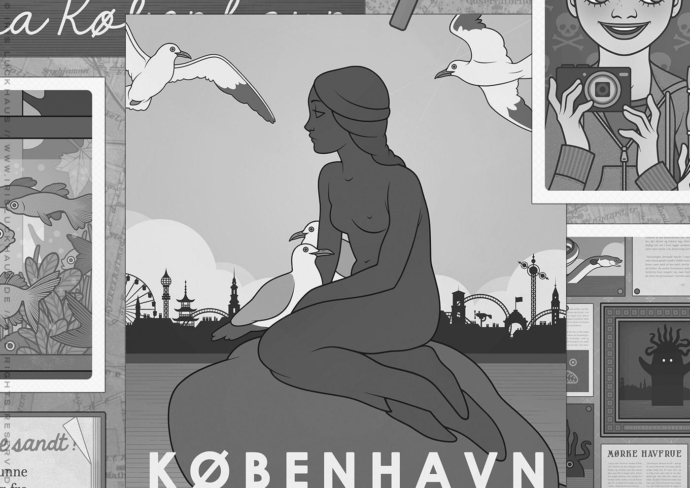 Gezeichnete Postkarte der Skulptur von Andersen Kleiner Meerjungfrau in Kopenhagen mit Möwen und der Skyline des Tivoli im Hintergrund für das Vorsatzblatt des Buchs Lillesang von Nina Blazon