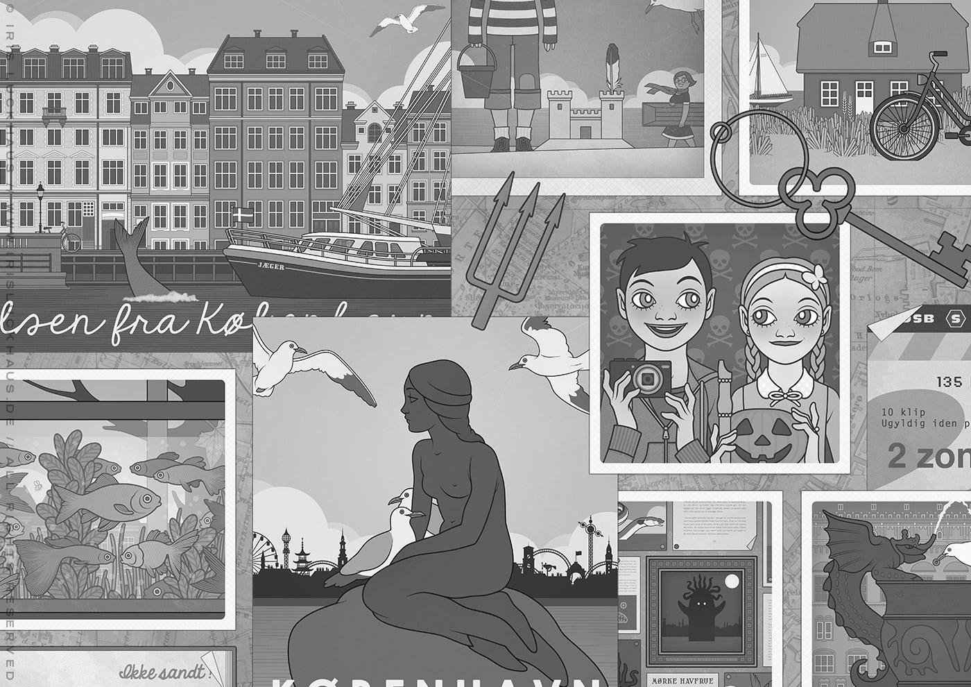 Scrapbook-Illustration von Iris Luckhaus mit Meerjungfrau, Fischen und Freundinnen für das Vorsatzblatt des Buchs Lillesang – Das Geheimnis der dunklen Nixe von Nina Blazon