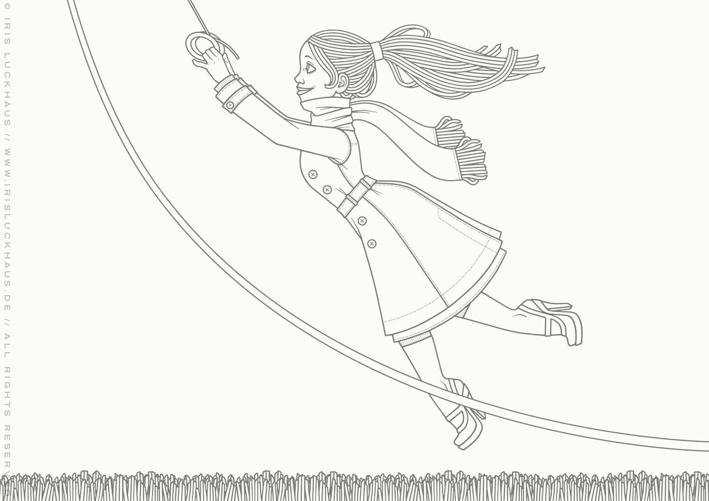Malbogen mit Lily Lux an einem stürmischen Herbsttag beim Flug mit einem Lenkdrachen