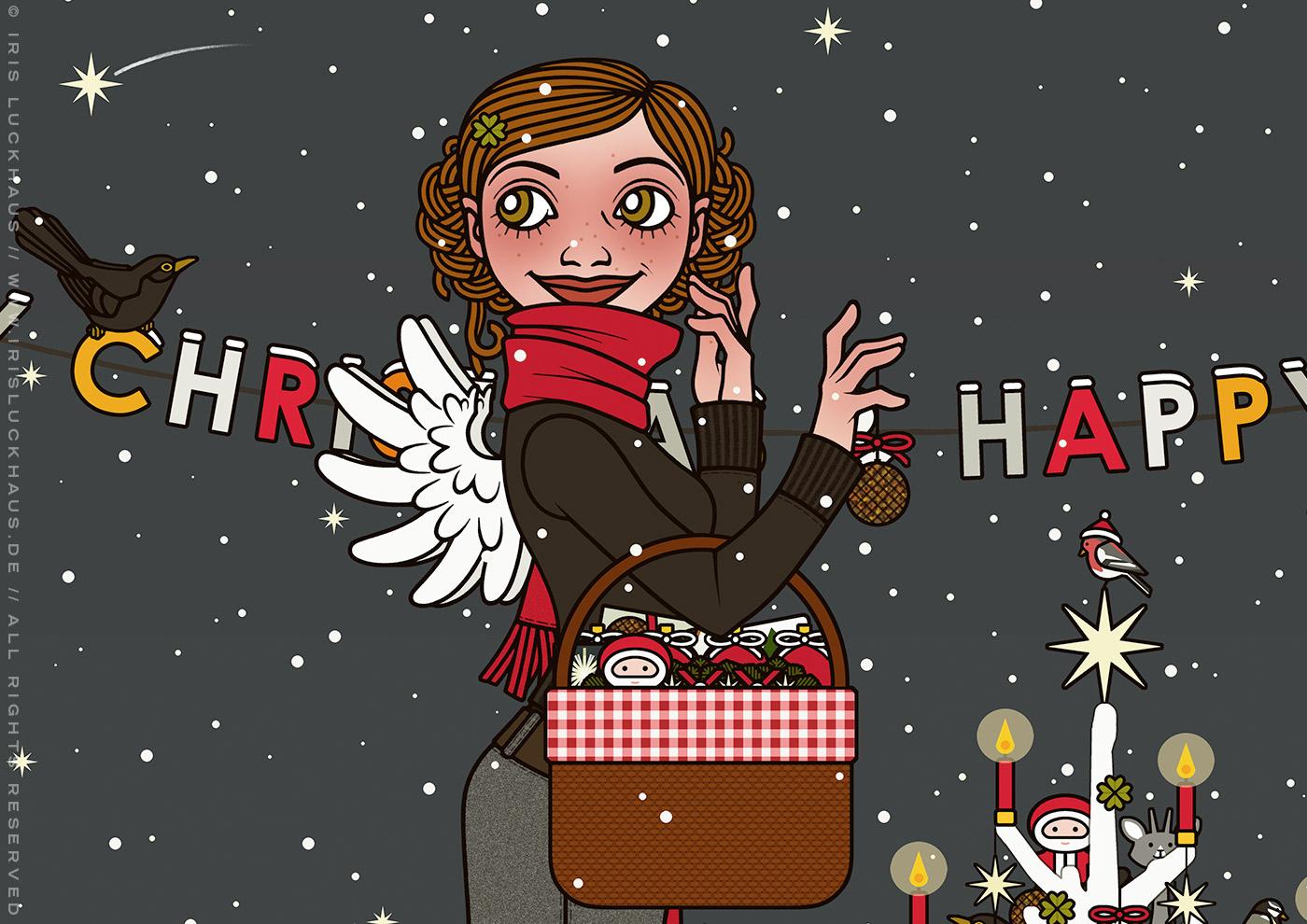 Ausschnitt aus der Zeichnung von einem Mädchen mit Engelsflügeln, das im Schnee im winterlichen Parkmit einem Picknickkorb Geschenke verteilt und einen Weihnachtsbaum mit Meisenknödeln schmückt, für Lily Lux