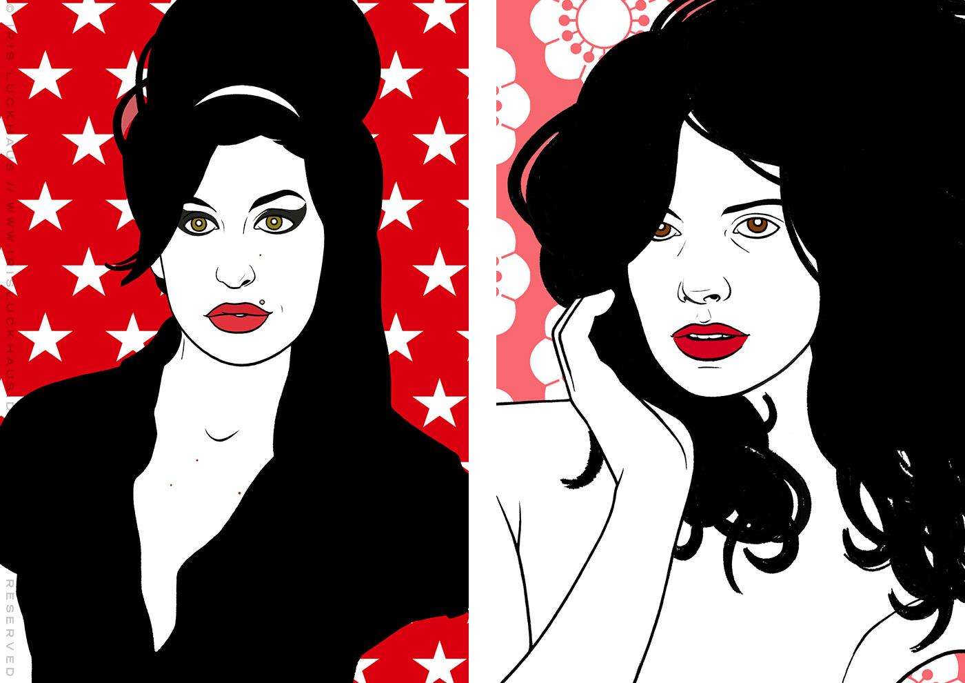 Comic Popart Retro Tusche Zeichnung mit Portraits von Heldinnen der Sixties wie Amy Winehouse und Uschi Obermaier