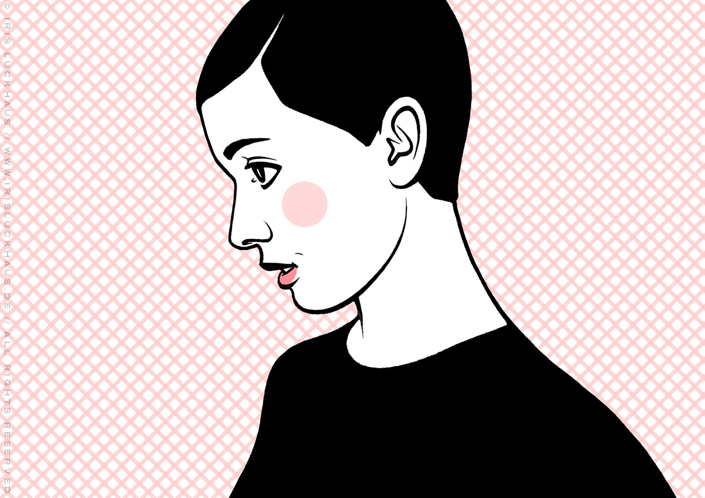 Comic Popart Retro Tusche Zeichnung mit Portraits von Heldinnen der Sixties wie Audrey Hepburn