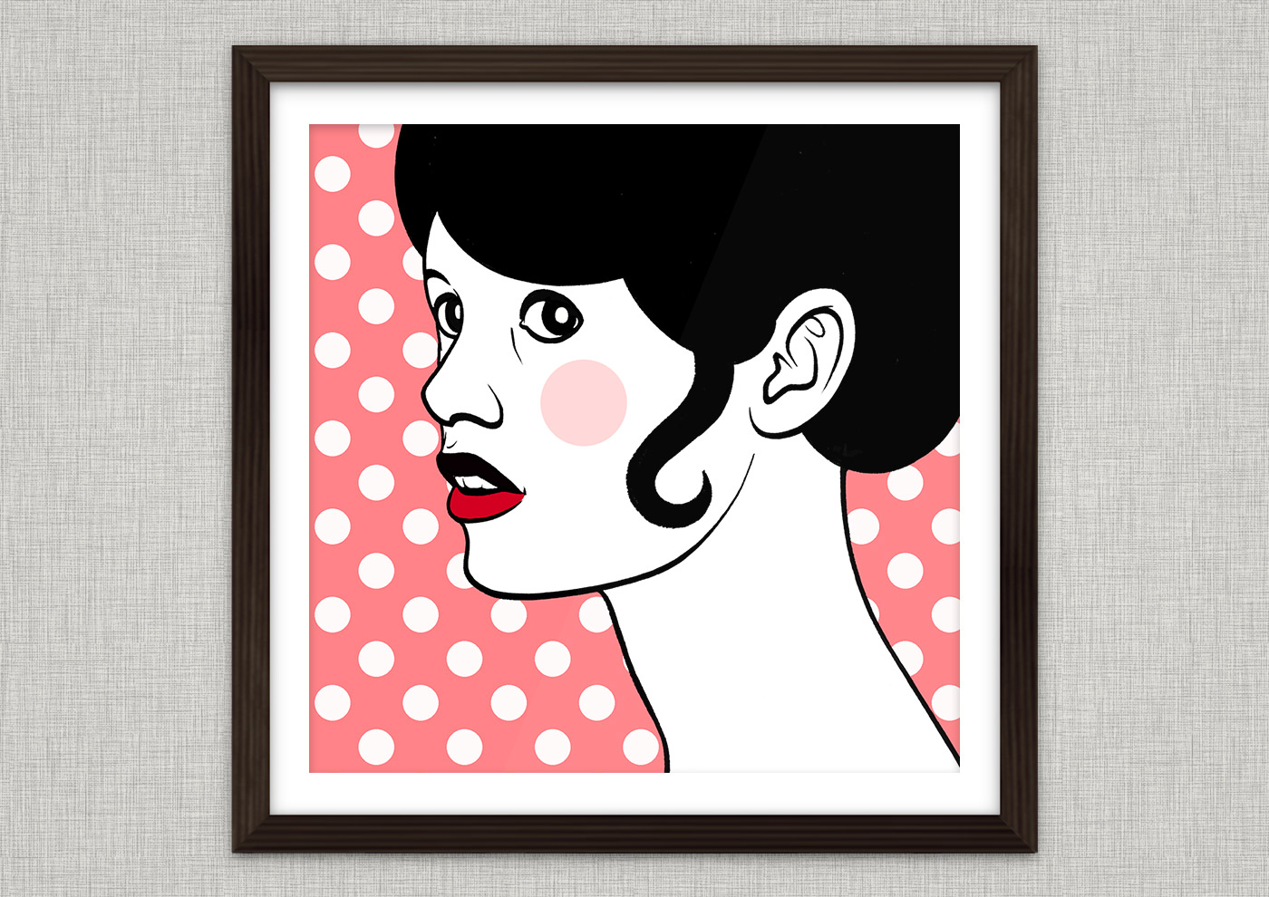 Comic Popart Retro Tusche Zeichnung mit Portraits von Heldinnen der Sixties wie Brigitte Bardot