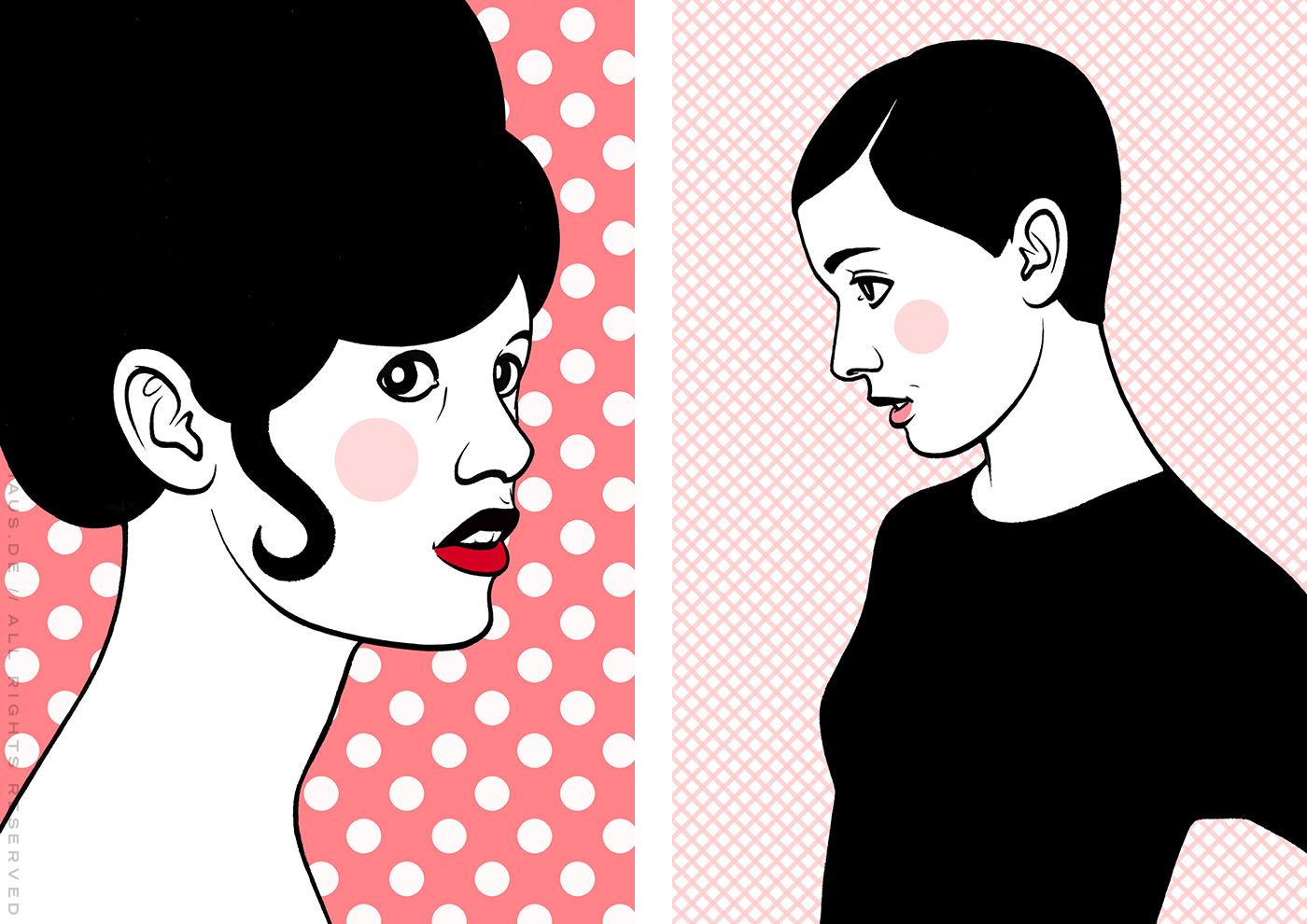 Comic Popart Retro Tusche Zeichnung mit Portraits von Brigitte Bardot und Audrey Hepburn als Heldinnen der Sixties