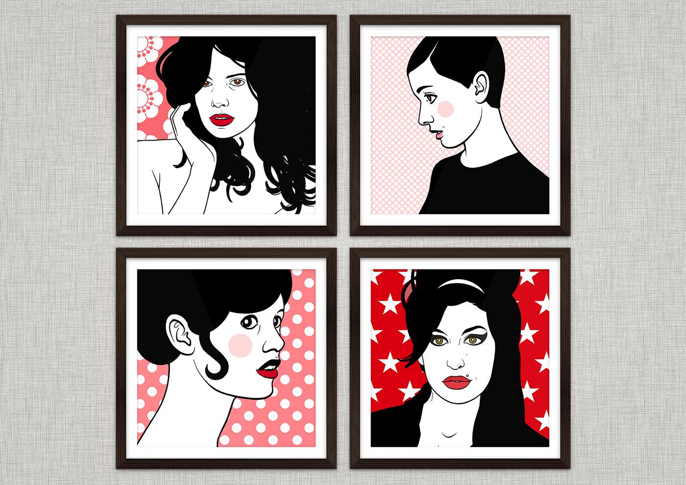 Comic Popart Retro Tusche Zeichnung mit Portraits von Heldinnen der Sixties