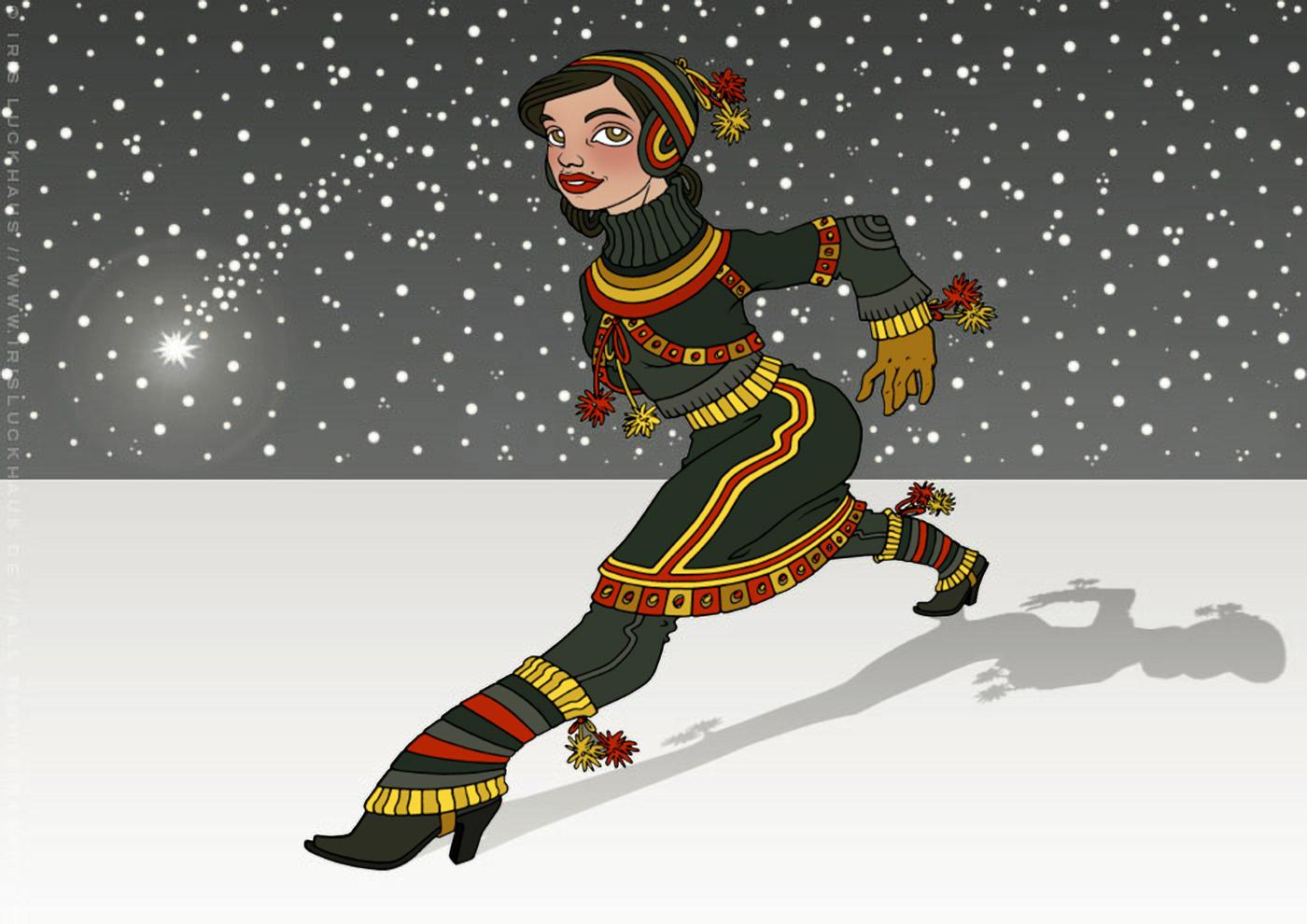 Zeichnung von einem Mädchen in Sami Tracht, das vor einem Himmel voller Schneeflocken und Sternschnuppen in großen Schritten über einen gefrorenen See im Winter geht