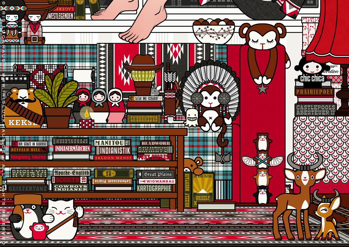 Ausschnitt aus Lily Lux als Mädchen auf Zimmerreise in den Wilden Westen mit Büchern, Cowboy-, Cowgirl- und Indianerfiguren, für Anthologie Hugh! Winnetou für Edition 52