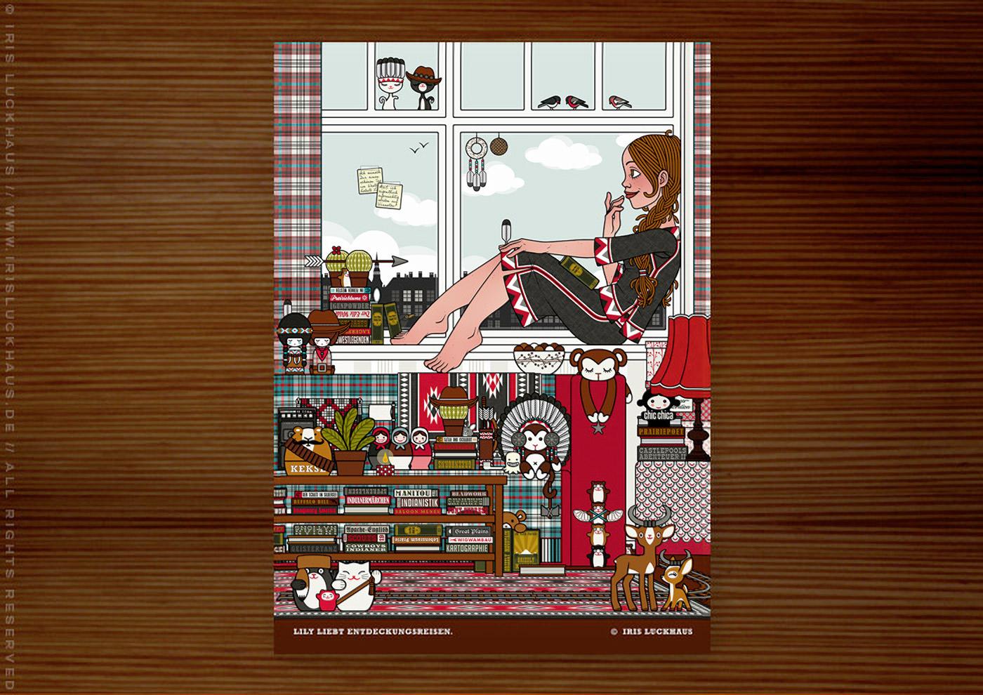 Postkarte mit Lily Lux als Mädchen auf Zimmerreise in den Wilden Westen mit Büchern, Cowboy-, Cowgirl- und Indianerfiguren, für Anthologie Hugh! Winnetou für Edition 52