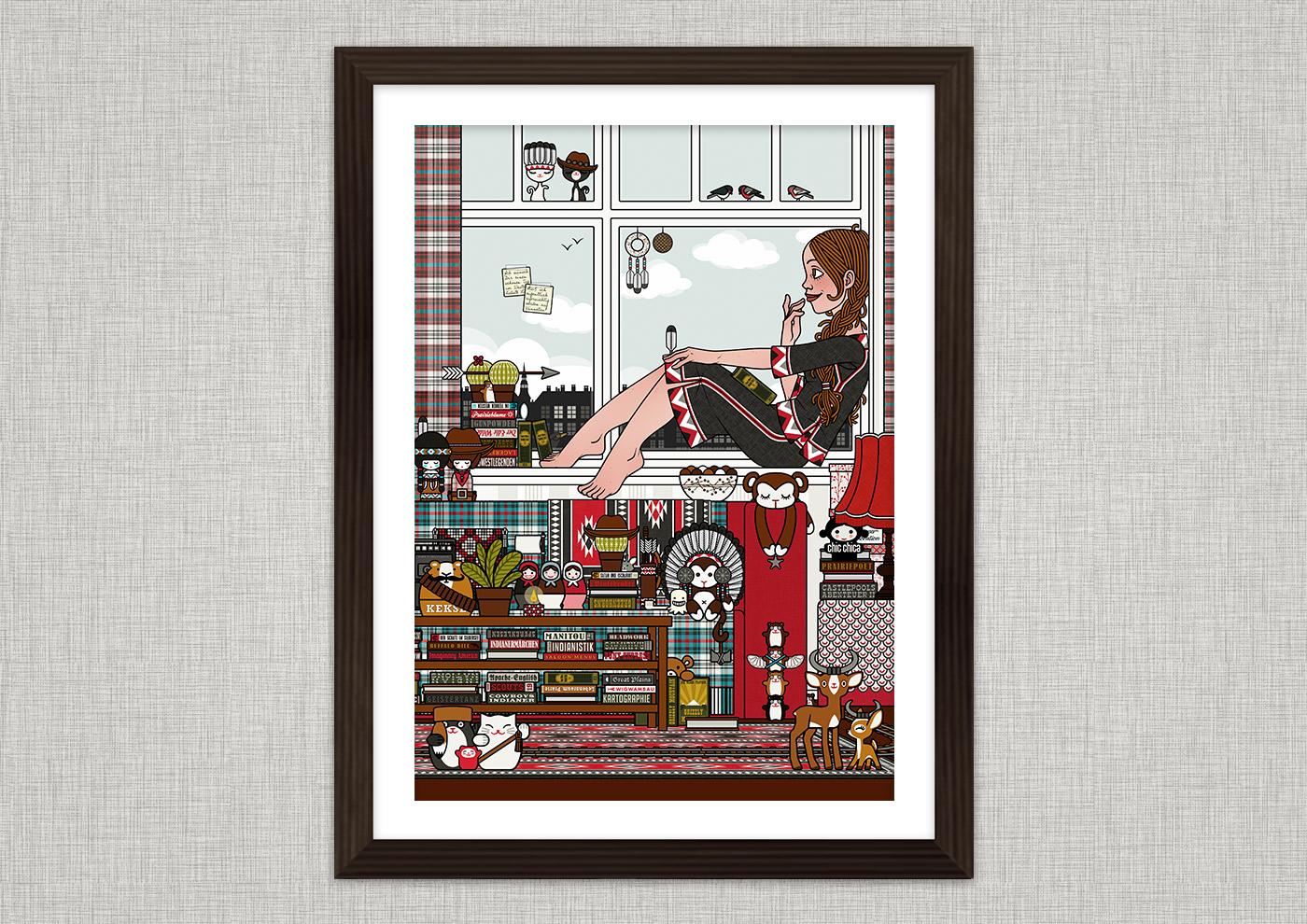 Ausschnitt von Illustration von Lily Lux als Mädchen auf Zimmerreise in den Wilden Westen mit Büchern, Cowboy-, Cowgirl- und Indianerfiguren, für Anthologie Hugh! Winnetou für Edition 52