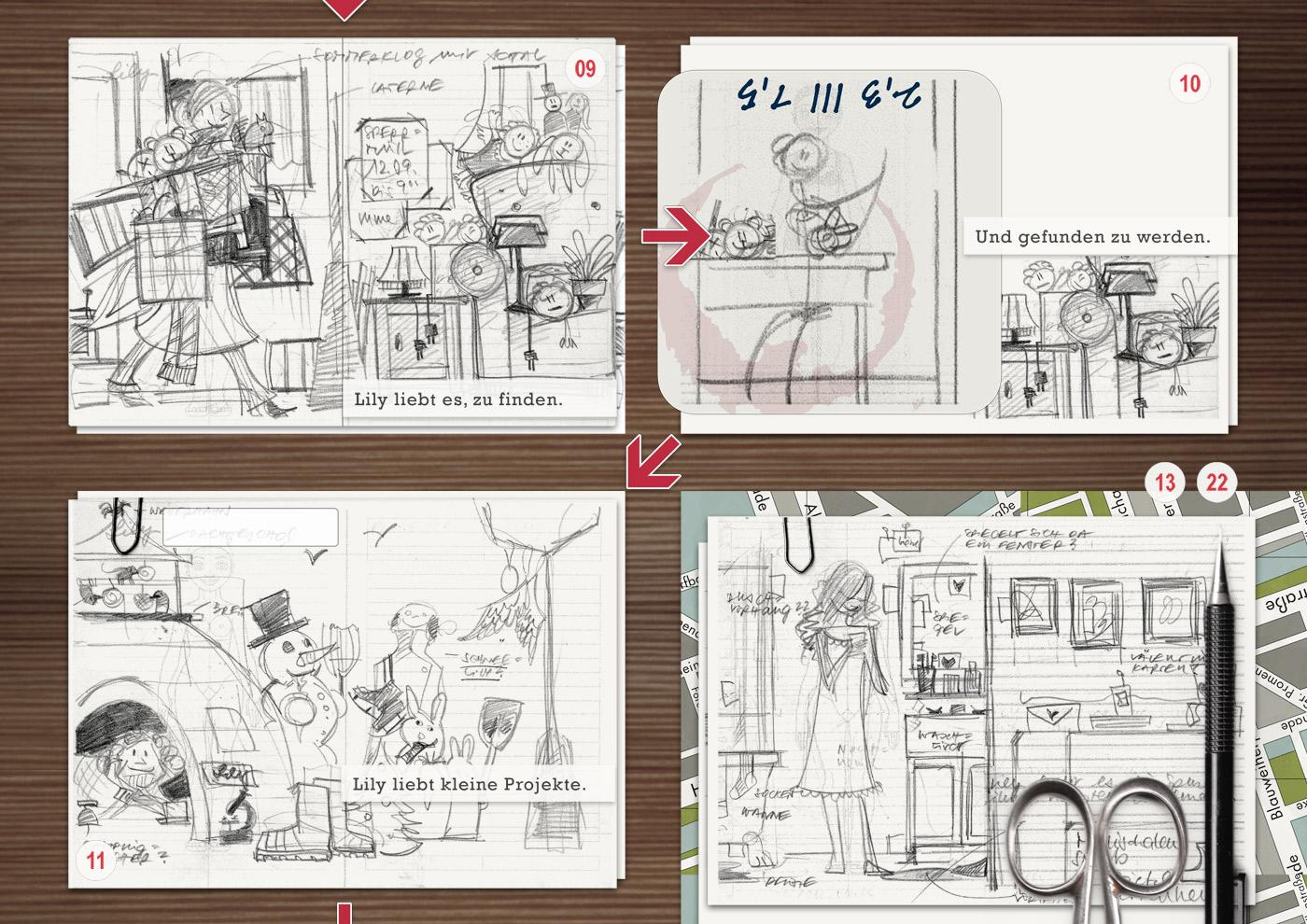 Making of Lily Lux Scribbles und Skizzen auf dem Basteltisch
