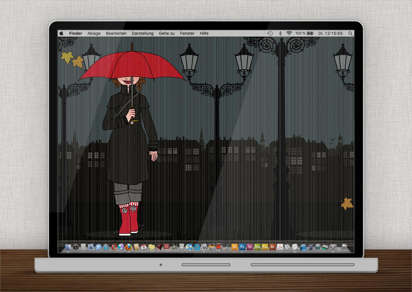 Lily Lux Wallpaper mit Regenschirm für den Herbst