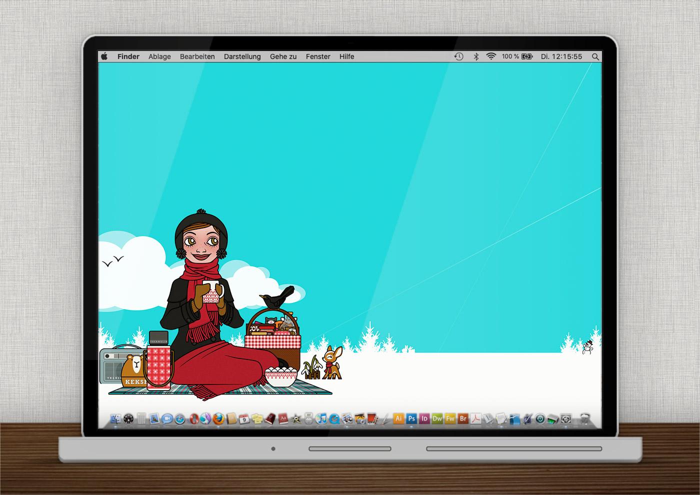 Lily Lux Wallpaper mit Schneeglöckchen und Winterpicknick