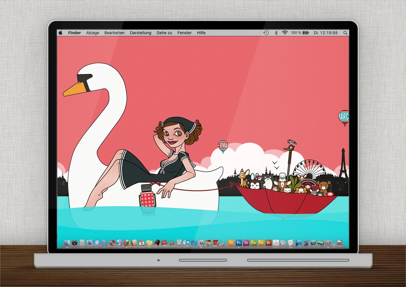 Lily Lux Wallpaper mit Schwanentretboot für den Sommer