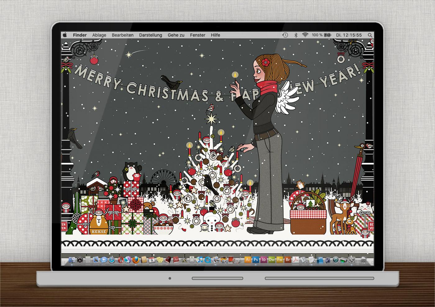 Lily Lux Wallpaper mit Kerzen im Winter