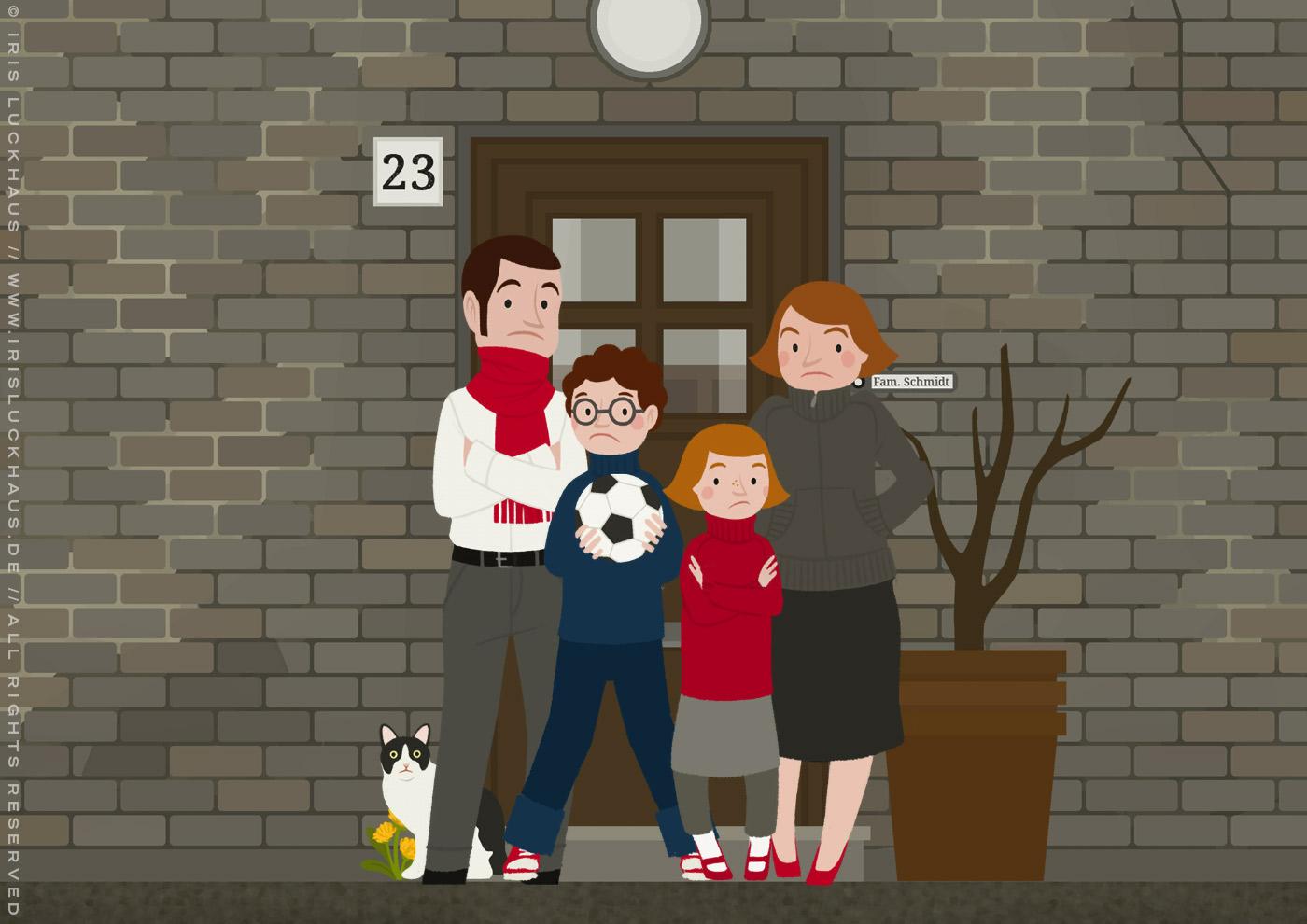 Familie Schmidt aus dem faltbaren Haus für die Sparkasse