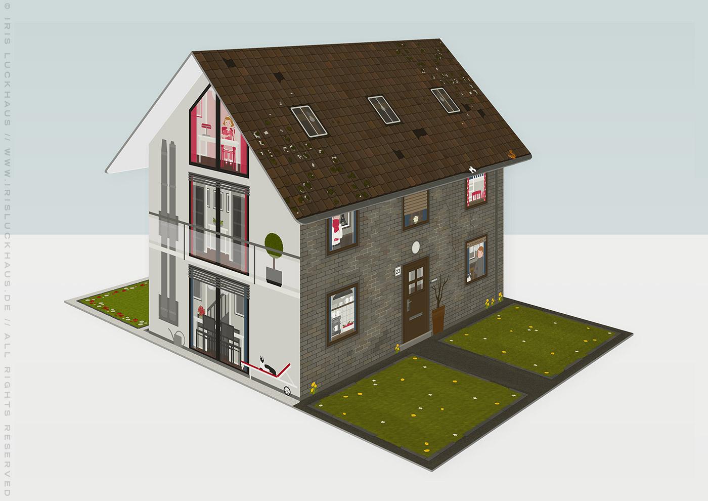 Modell der unrenovierten und der renovierten Häfte des faltbaren Modell eines Hauses aus Pappe als Erklärhilfe für die Bausparer der Stadtsparkasse Wuppertal