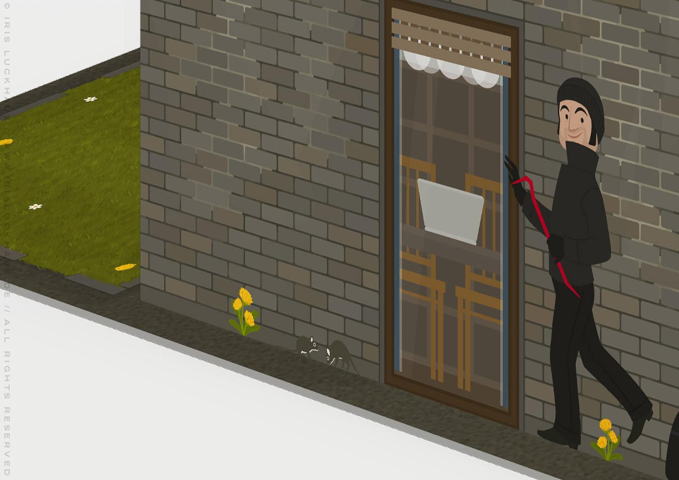 Ausschnitt vom Wohnzimmer mit Einbrecher in der unrenovierten Häfte des faltbaren Modell eines Hauses aus Pappe als Erklärhilfe für die Bausparer der Stadtsparkasse Wuppertal