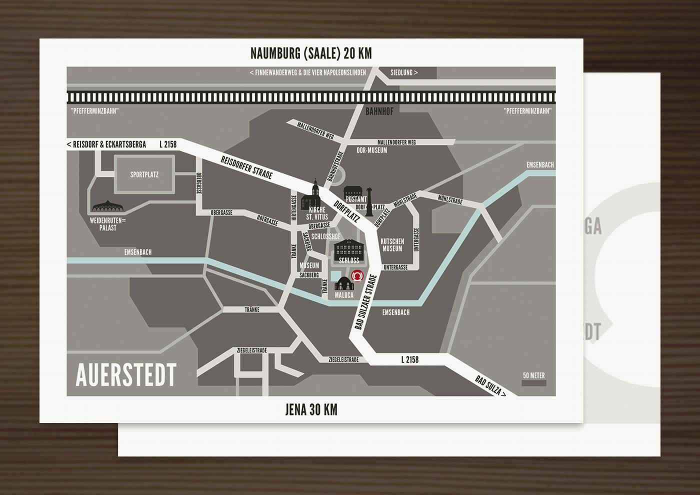 Landkarte von Auerstedt, Grafik Design von Logo und Corporate Identity für Hochzeit und gemeinsames Leben des Paares