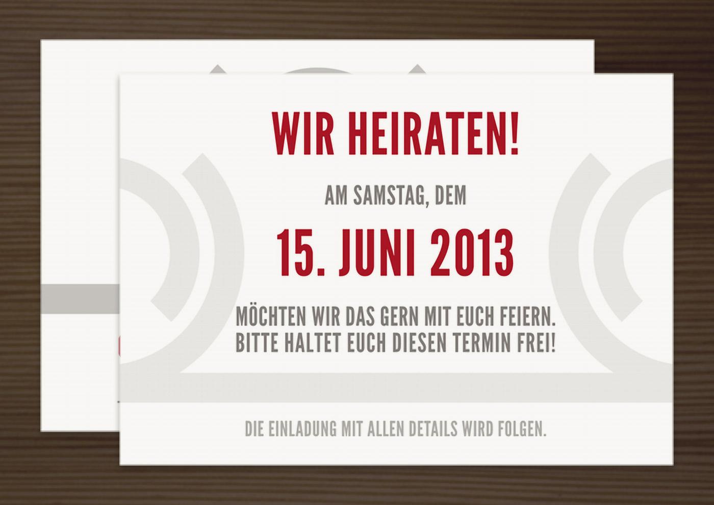 Save the date, Ankündigungskarte, Einladungskarte und Anhänger, Grafik Design von Logo und Corporate Identity für Hochzeit und gemeinsames Leben des Paares