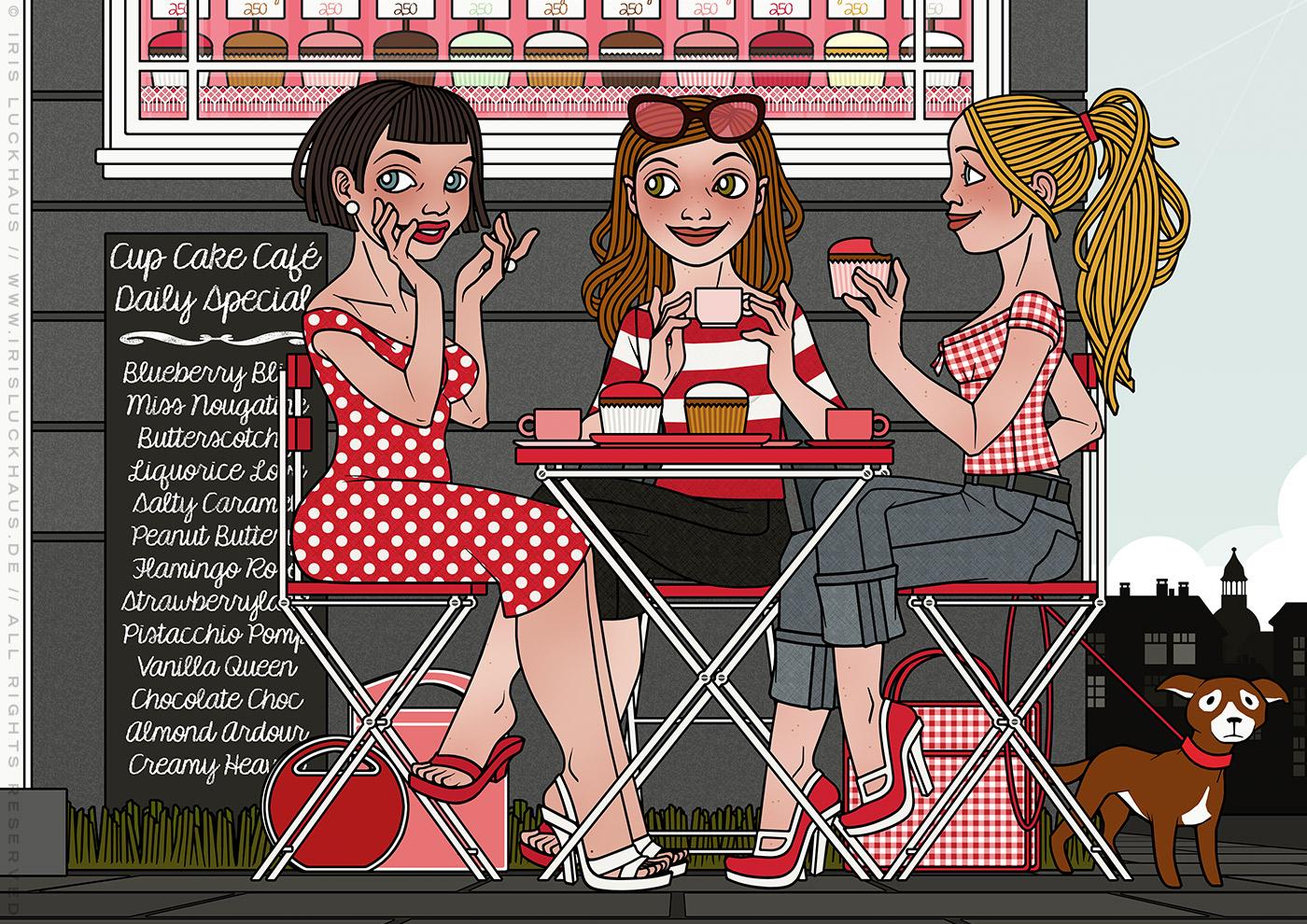 Ausschnitt aus der Illustration von drei Freundinnen im Café, die Cupcakes essen, Kaffee trinken und fröhlich Gossip verbreiten, für eine Materialbroschüre der Firma Schock