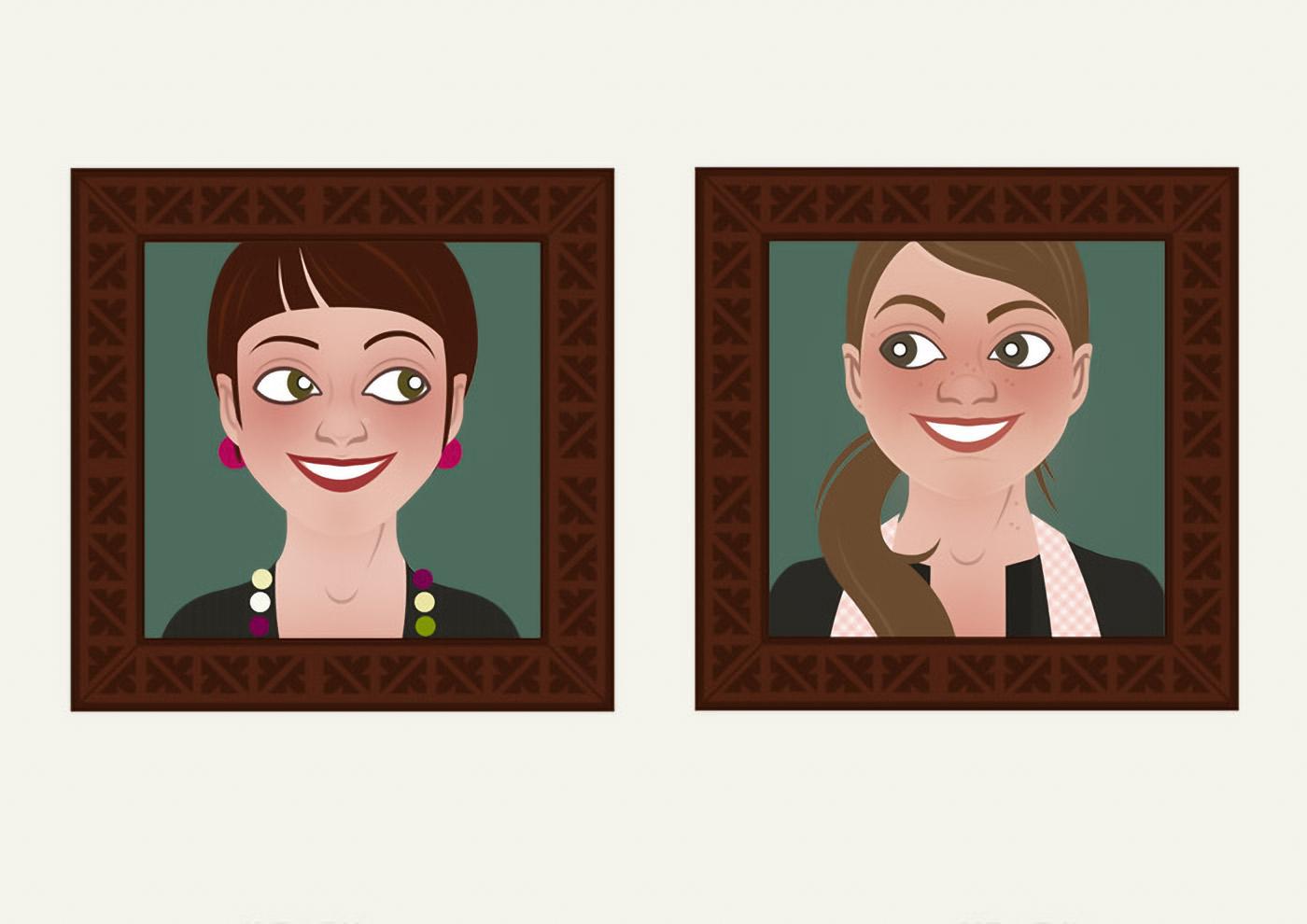 Characterdesign mit Vektorillustrationen von Gesichtern der Frauen, die als Handwerkerinnen Wohnungen renovieren und einrichten, für Homestaging