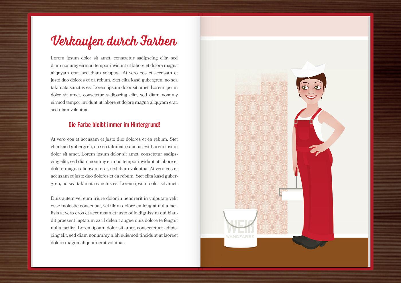 Seite aus dem Homestaging Buch mit Vektorillustrationen von Frauen, die als Handwerkerinnen Wohnungen anstreichen