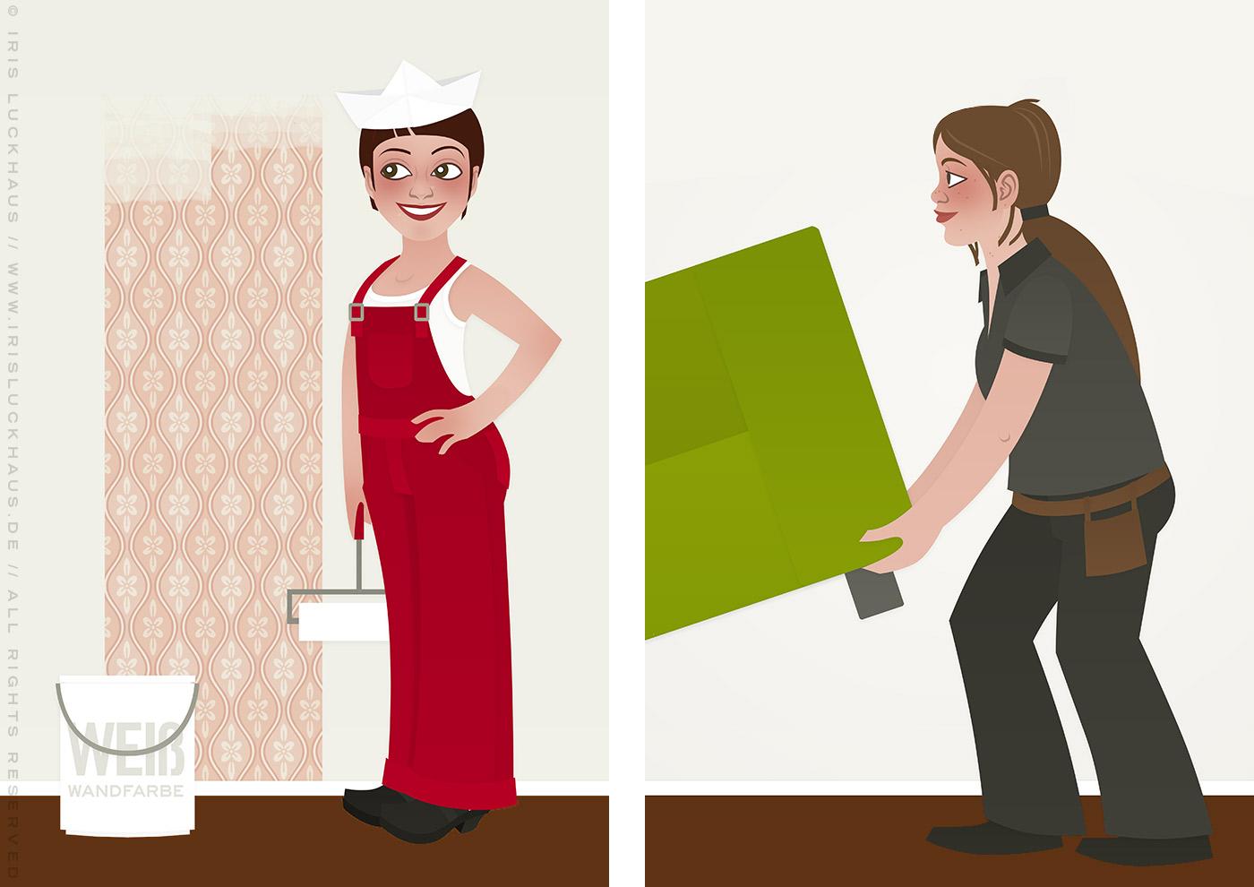 Vektorillustrationen von Frauen, die als Handwerkerinnen Wohnungen einrichten und streichen, für Homestaging Buch