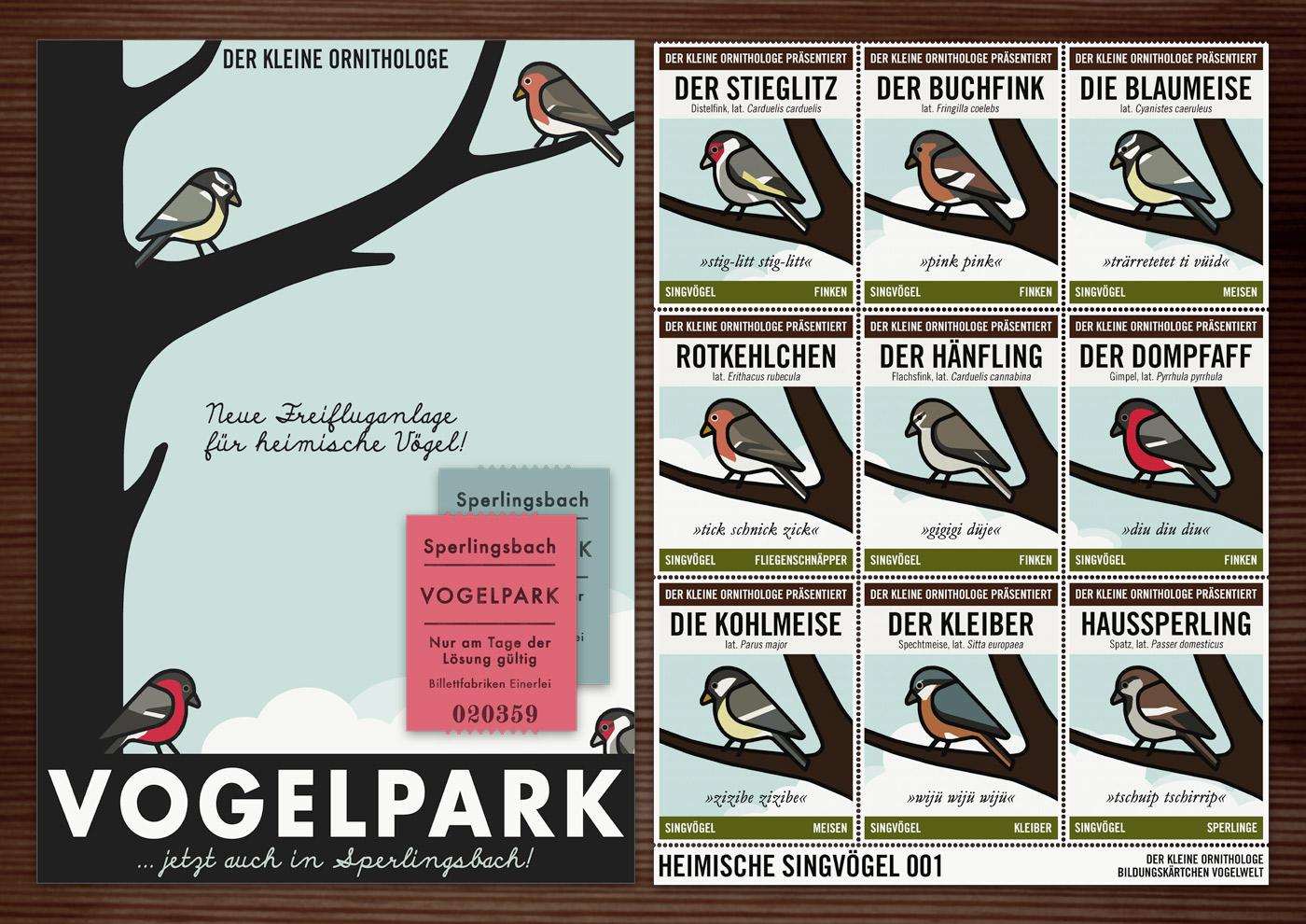 Corporate Identity, Logo und Grafik Design mit Singvögeln für Werbung, Schilder, Poster, Postkarten, Flyer, Aufkleber, Eintrittskarten und Buttons für Lily Lux Vogelpark