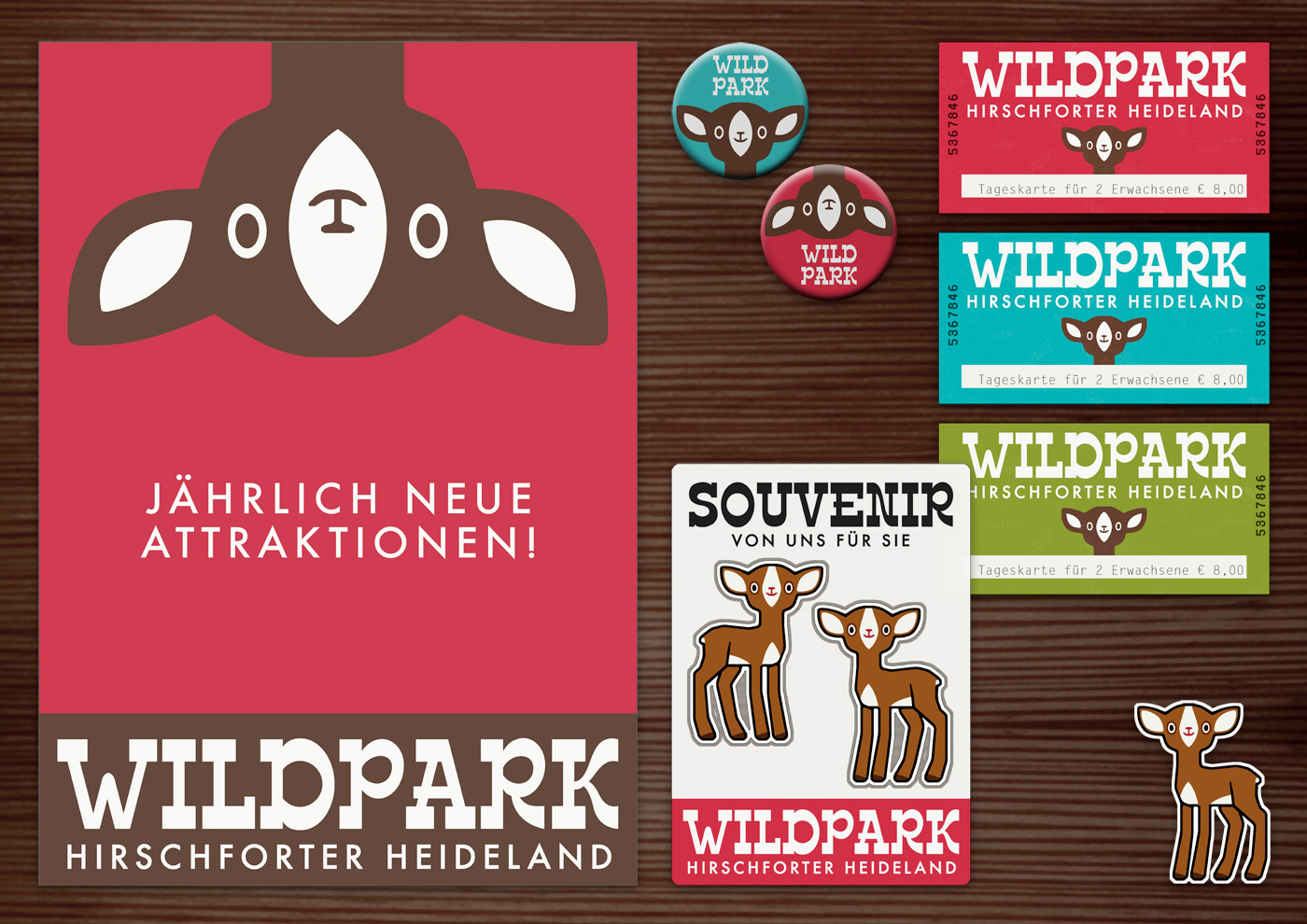 Corporate Identity, Logo und Grafik Design mit Rehkopf für Werbung, Schilder, Poster, Karten, Flyer, Aufkleber, Eintrittskarten und Buttons für Lily Lux Wildpark Hirschforter Heide