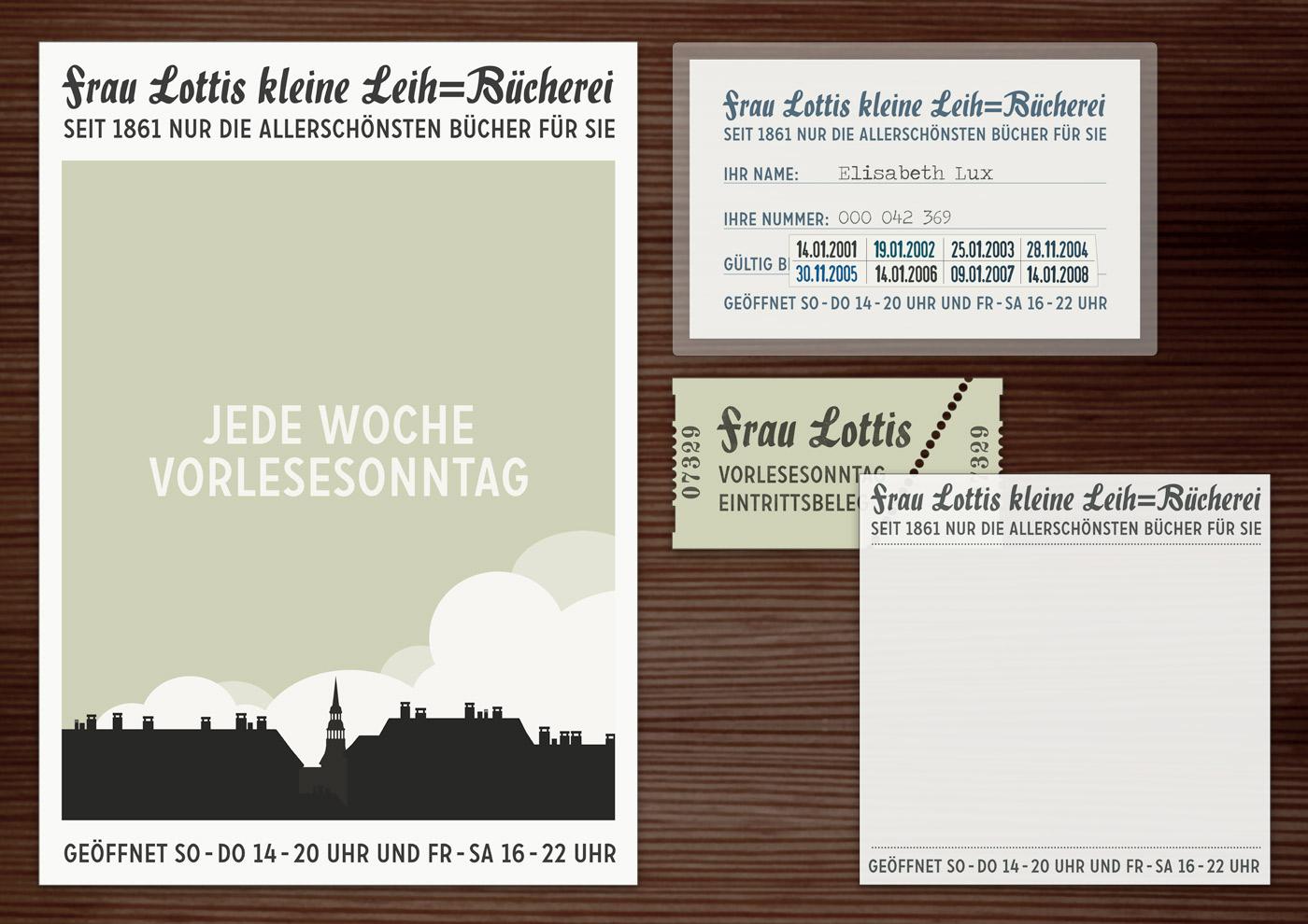 Corporate Identity, Logo und Grafik Design für Werbung, Schilder, Poster, Postkarten, Flyer, Aufkleber, Eintrittskarten und Buttons für Lily Lux Leihbücherei
